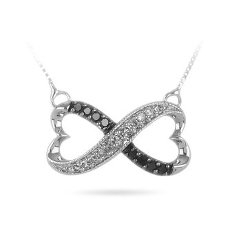 10K WG Balck and White Diamond Infinity Heart Necklace Pendant milgranined edges and box chain attached