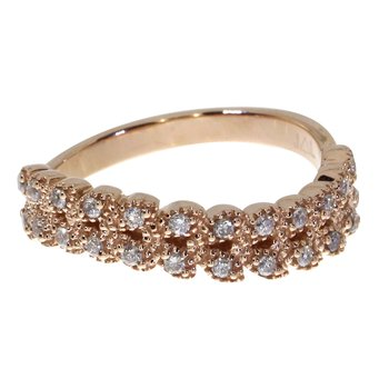 14k Rose Gold Leaf Diamond Band