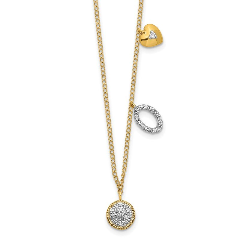 Quality Gold 14k Diamond Two Circle and Heart 16.5 inch Necklace