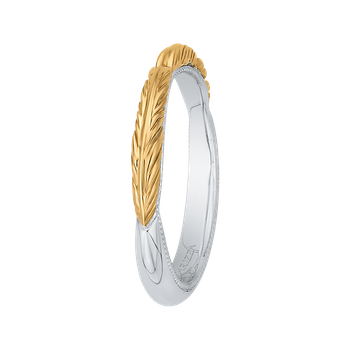 18K Two-Tone Gold Plain Wedding Band