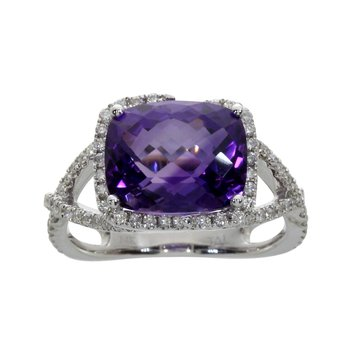 14k White Gold Rectangle Amethyst And Diamond Ring