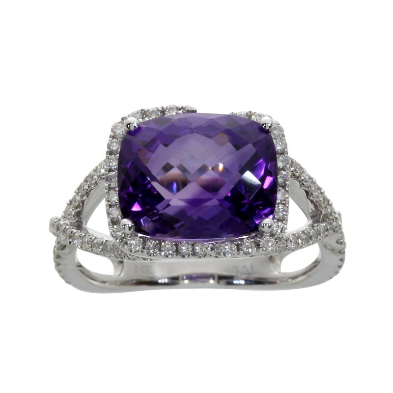 Color Merchants 14k White Gold Rectangle Amethyst And Diamond Ring