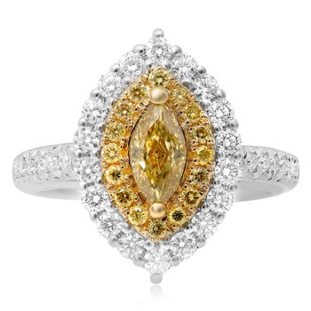 Two Tone Marquise Cut Diamond Ring