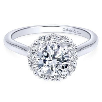 14k White Gold Bold Diamond Halo Rounded Shank Engagement Ring