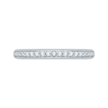 18K White Gold Round Diamond Half-Eternity Wedding Band with Euro Shank
