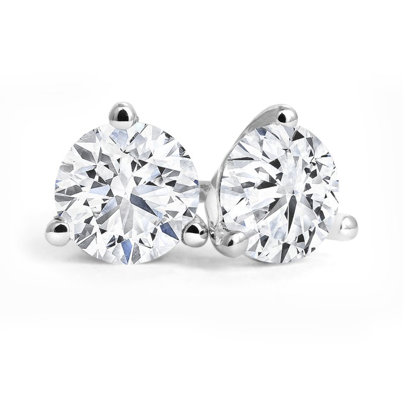 Three-Prong Diamond Stud Earrings