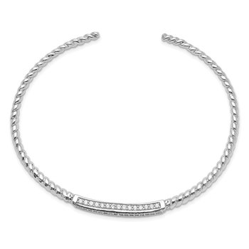 Sterling Silver Rhodium-plated CZ Twisted Cuff Bangle