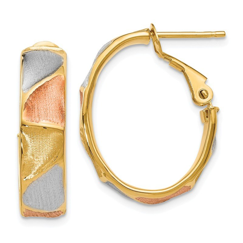 Leslie's Leslie's 14K Yellow Gold & Rhodium Polished & Satin Hoop Earrings