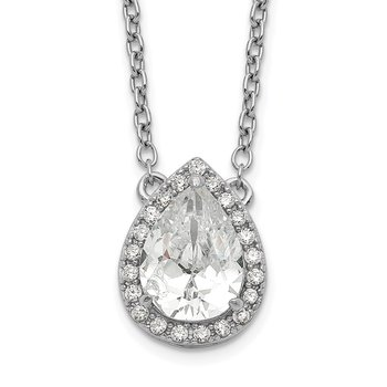Sterling Silver Rhodium-plated Pear CZ Halo w/1in ext Necklace