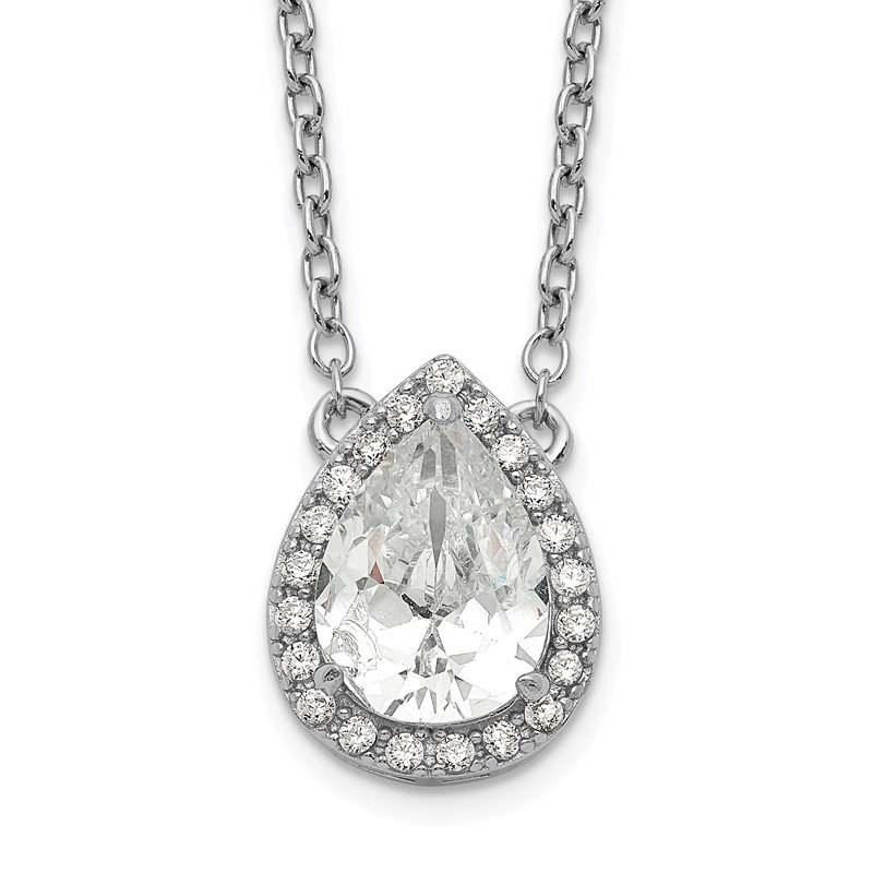 Quality Gold Sterling Silver Rhodium-plated Pear CZ Halo w/1in ext Necklace