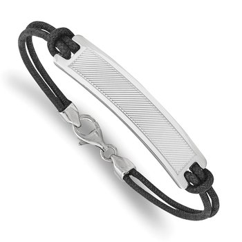 Sterling Silver Rhodium-plated Stripe Design Black Cotton Cord Bracelet