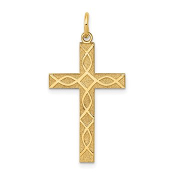 14K Laser Designed Cross Pendant
