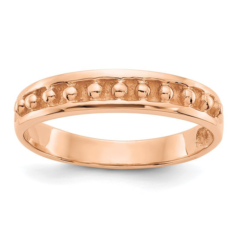 Quality Gold 14k Rose Gold Polished Beaded Band