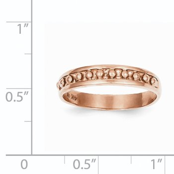 14k Rose Gold Polished Beaded Band