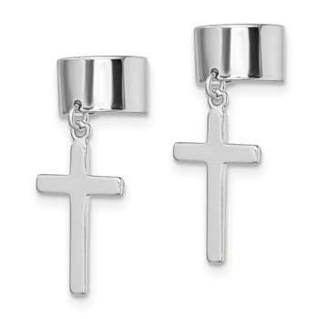 Sterling Silver Rhodium-plated Cuff Cross Earrings