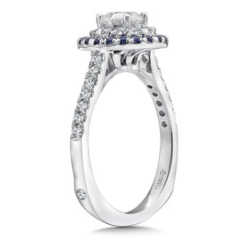 Diamond and Blue Sapphire Halo Engagement Ring Mounting in 14k White Gold with Platinum Head (.26 ct. tw.)