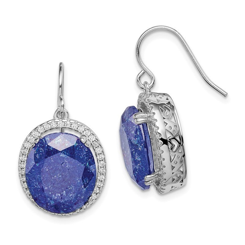 Quality Gold Sterling Silver Rhodium-plated CZ and Blue CZ Stone Earrings