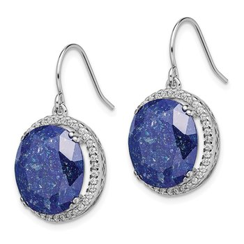 Sterling Silver Rhodium-plated CZ and Blue CZ Stone Earrings