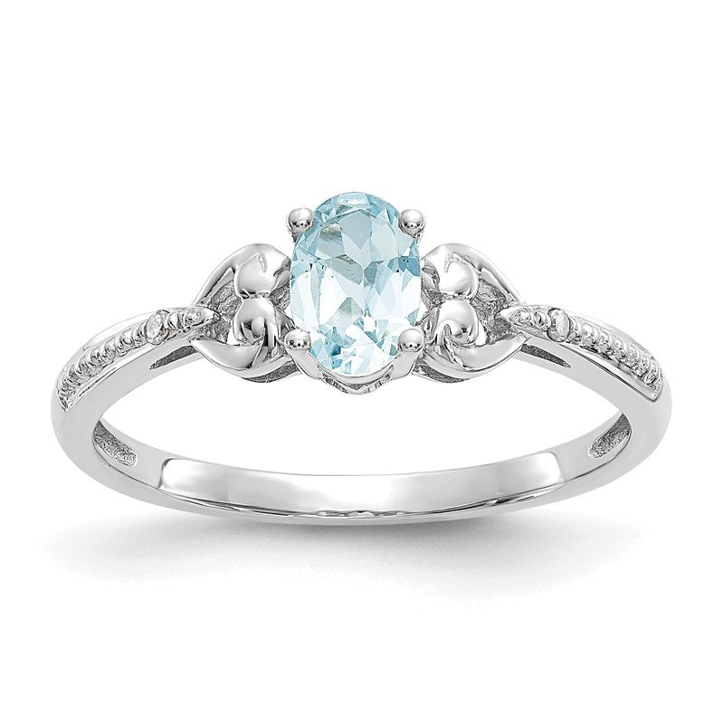 Quality Gold 10k White Gold Aquamarine and Diamond Ring