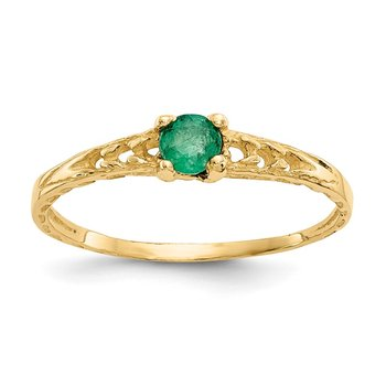 14k Madi K 3mm Emerald Birthstone Baby Ring