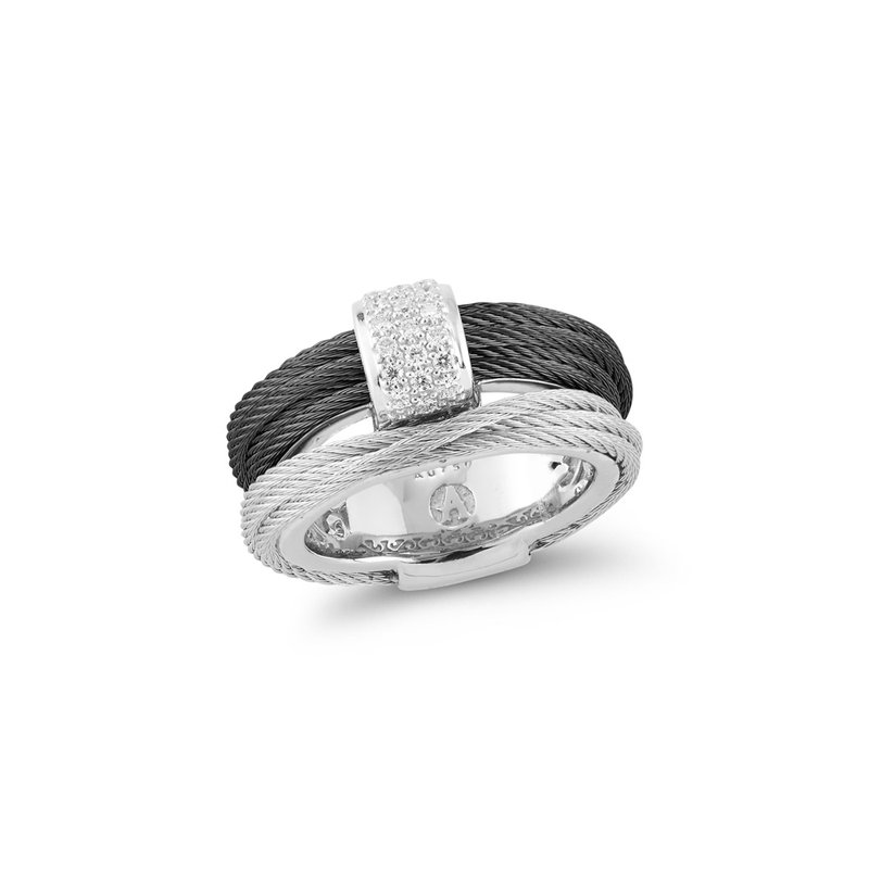 ALOR Black & Grey Cable Small Simple Stack Ring with 18kt White Gold & Diamonds
