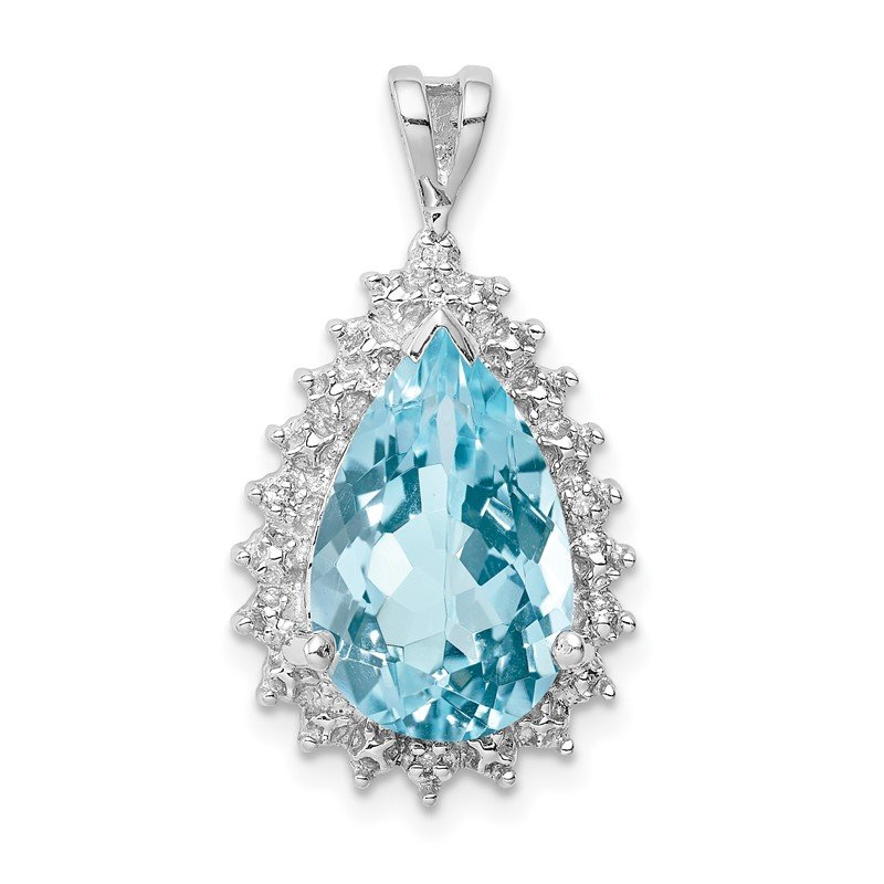 Quality Gold Sterling Silver Rhodium-plated Light Swiss Blue Topaz Diamond Pendant