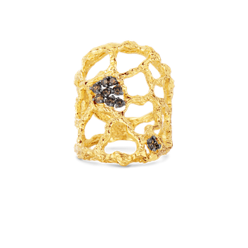 Cuff Ring With Brown Diamonds &Ndash; 7