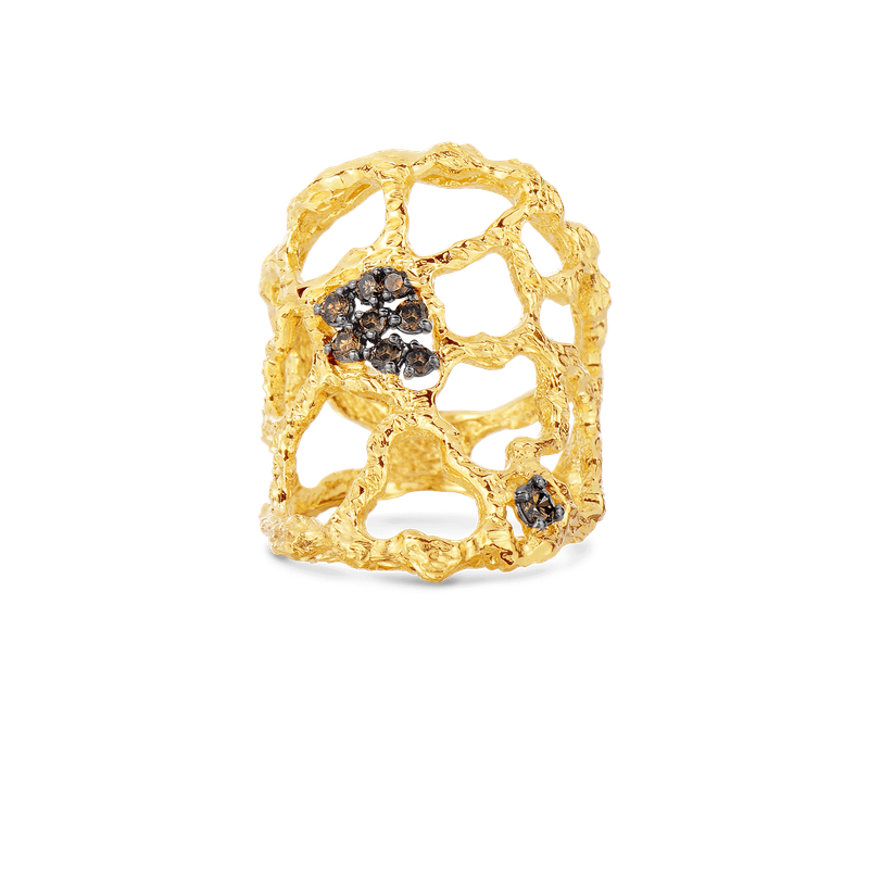 Roberto Coin Cuff Ring With Brown Diamonds &Ndash; 7
