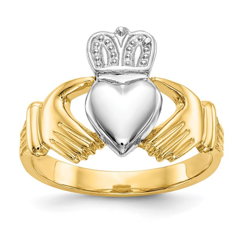 Quality Gold 14k Mens Two-tone Claddagh Ring