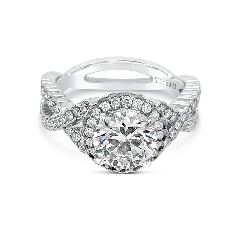 Kirk Kara 18K White Gold Diamond Twist Halo Engagement Ring