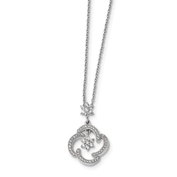 Sterling Silver & CZ Brilliant Embers Stars Necklace