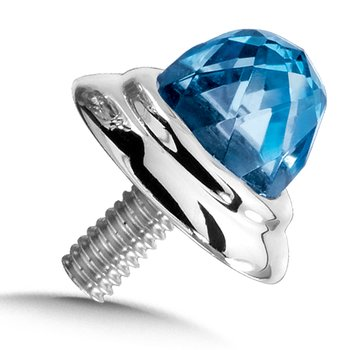Sterling Silver Blue Topaz Cap (single)