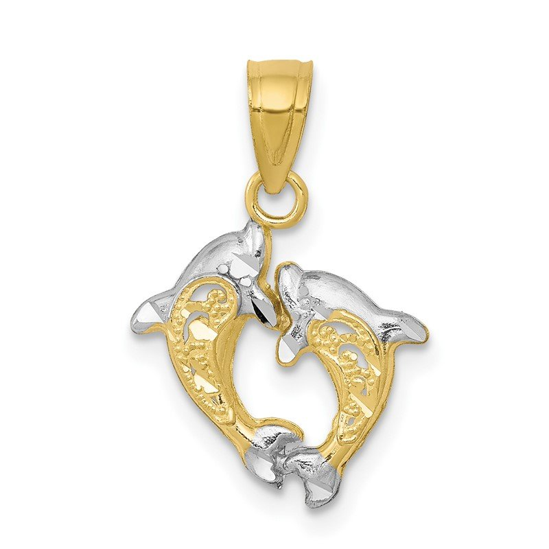 Quality Gold 10K w/Rhodium Small Dolphin Charm