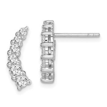 Sterling Silver Rhodium-plated Graduated CZ Curved Post Earrings