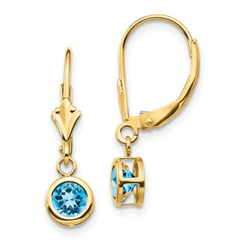 14k 5mm Blue Topaz Leverback Earring