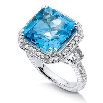 Sterling silver , blue topaz and quartz, diamond ring
