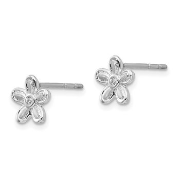 SS White Ice Satin & Polished .02ct. Diamond Flower Earrings