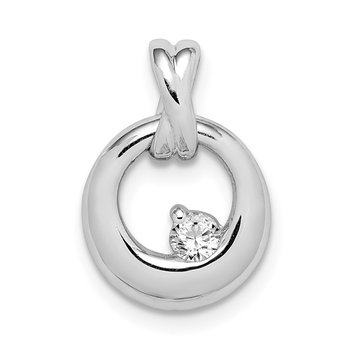 Sterling Silver Rhodium-plated CZ Circle Pendant