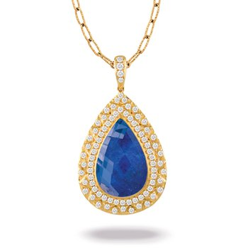 Royal Lapis Pear Shape Halo Pendant 18KY
