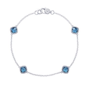 4-station bracelet with London Blue Topaz