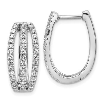 14k White Gold 3-row Diamond Hinged Hoop Earrings