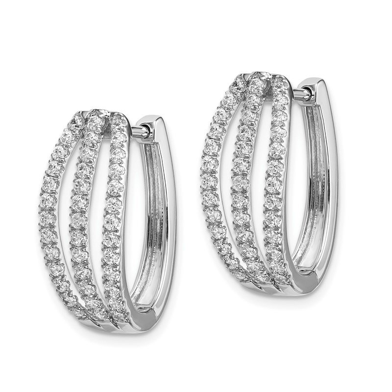 Quality Gold 14k White Gold 3-row Diamond Hinged Hoop Earrings