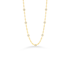 Roberto Coin 18Kt Gold Necklace With 7 Square Diamond Stations