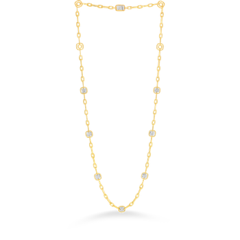 18KT GOLD NECKLACE WITH 7 SQUARE DIAMOND STATIONS