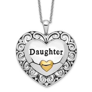 Sterling Silver & Gold-plated Antiqued Daughter 18in. Necklace