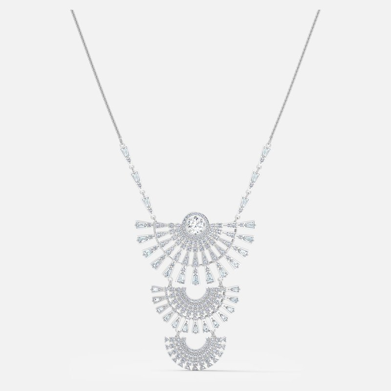 Swarovski Swarovski Sparkling Dance Dial Up Necklace, Large, White, Rhodium plated