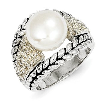 Sterling Silver FW Cultured Pearl & Diamond Ring