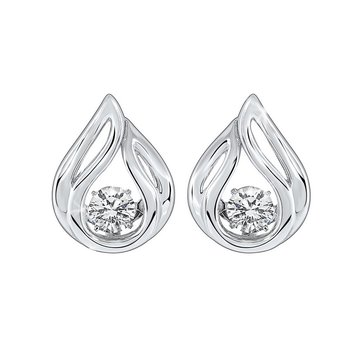 CZ Solitaire Teardrop Anniversary Earrings in Sterling Silver