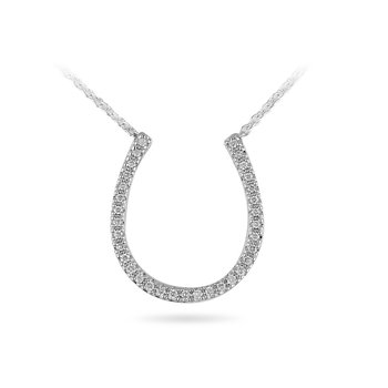 "14K WG Diamond Horseshoe Necklace with 17"" Cable Chain"