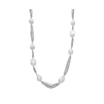 "Honora Sterling Silver 12-18mm White Baroque Freshwater Cultured Tin Cup 36"" Necklace"